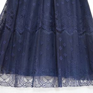 FORTUNE + IVY Tops - Sleeveless Navy Blue Lace Overlay BlouseNEVER WORN